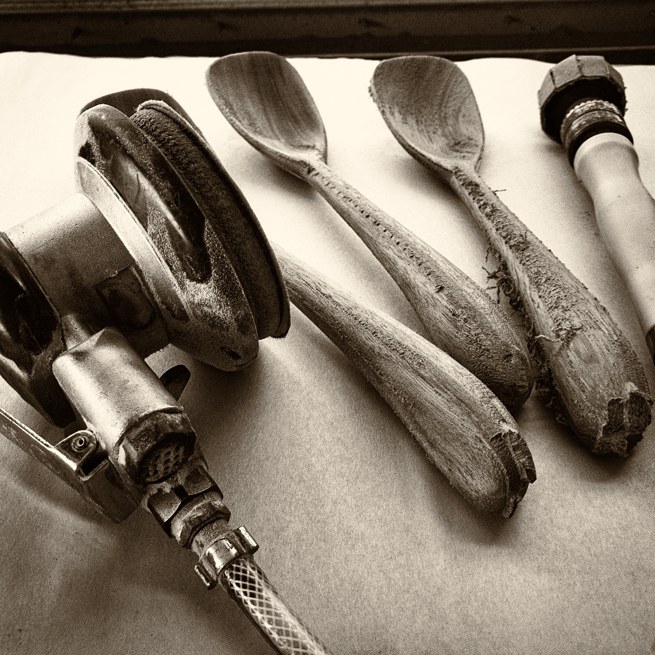 Handmade spoons on the bench ready for sanding. Work in Progress by Bob Gilmour, Australia - Gilmour Design.