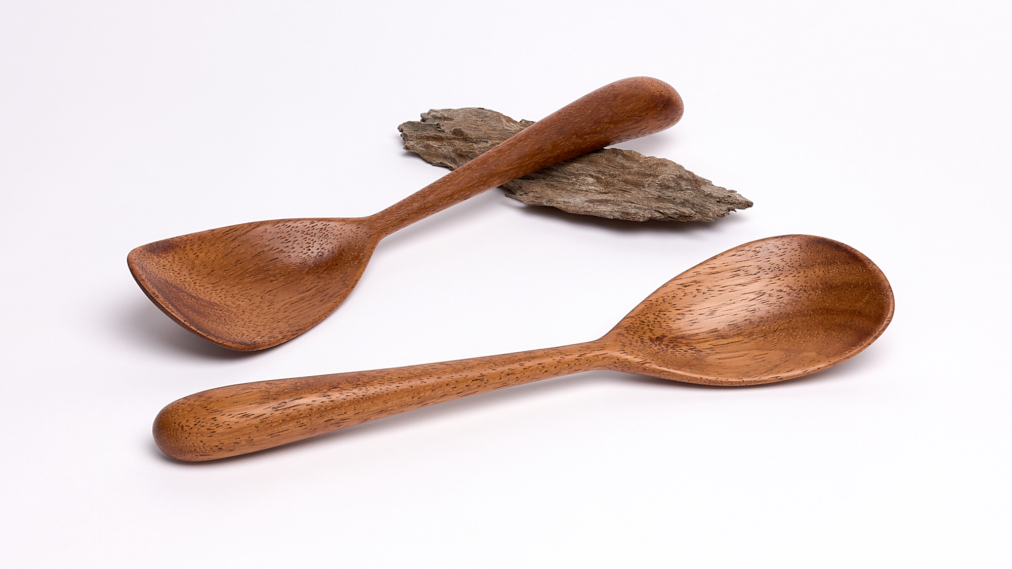 Two handmade shallow stirring spoons in recycled merbau hardwood by Bob Gilmour, Australia - Gilmour Design